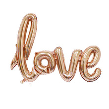 Love Script Foil Balloon Rose Gold And Red Birthday Balloon Love Balloon Valentine Party Decor Bridal Shower Wedding Decoration