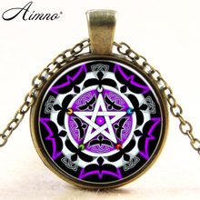 Silver plated necklaces Pentacle Star pattern glass Pendant necklace women men chocker body jewelry Eagle paint vintage B522