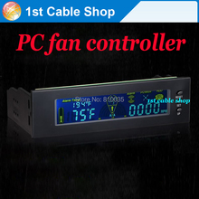 "Free shipping 4PCS 5.25"" drive bay computer fan controller computer fan speed controller with LCD displays"