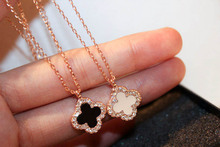 rhinestone black four leaf clover necklace female rose gold short design titanium steel pendant chain birthday gift(China)