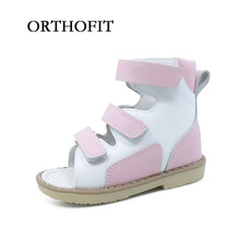 Simple Girls Healthy Princess Pink Sandals Kids High Ankle Medical Orthopedic Summer Shoes With Hoop And Loop Strap Design(China)