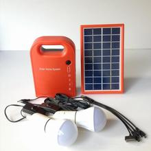 Portable 3W Mini Solar Home System Solar Energy Kit Solar Generator with 2 Bulbs Lead Acid Battery outdoor solar camping light