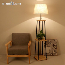 Modern Floor Lamp For Living Room Cotton material Lampshade Wooden Stand Lamp Floor Lighting Fixtures Free shipping