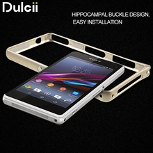 Dulcii for Sony Xperia Z1 Mini Compact Case Metal Bumper Rim Hippocampal Buckle for Sony Xperia Z1 Compact D5503 Cover Bag Frame(China)