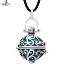 H064 Fashion Jewelry Vintage Copper Metal Locket pendant chime ball Guardian Angel Necklace Mexican Bola