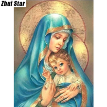 "Full Square Diamond 5D DIY Diamond Painting ""Religious Mother & child"" Embroidery Cross Stitch Rhinestone Mosaic Painting Decor"