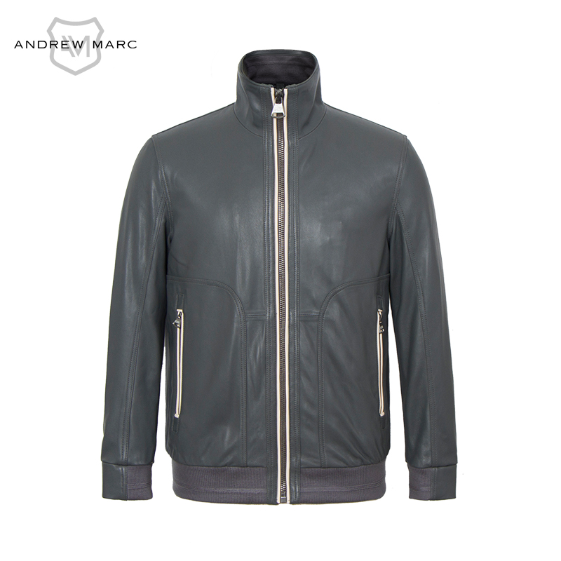 ANDREW MARC Genuine Leather jacket Coat Motorcycle Bomber Slim Spring Autumn Brand Real Leather Coat TM6A1007