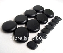 16pcs/set lava Natural Energy massage stone set hot spa rock basalt stone 16pcs with heater bag(China)