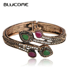 Blucome Vintage Green Branch Flower Bangles Red Water Drop Resin Women Lady Bangle Bracelet Hand Crystal Turkish Jewelry Gifts