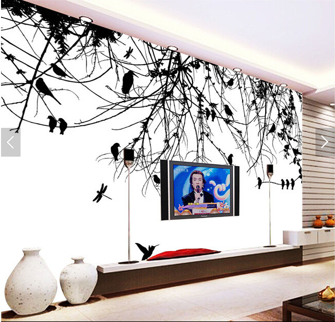Custom papel DE parede infantil.Tree branch bird murals for the living room bedroom TV background wall vinyl papel de parede<br>