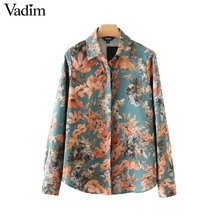 Vadim women vintage floral pattern shirts long sleeve turn down collar blouse European style ladies casual brand tops LT2293(China)