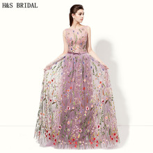H&S Bridal Light Purple evening dresses Sheer Front robe de soiree Embroidered Lace Evening Gown V-Back evening party 2017