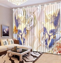 Blackout fabric European style of sculpture Printing Luxury 3D Window Curtains For Living room Bedding room Home Hotel CL-DLM754(China)
