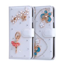 "Coque For Asus Zenfone Go ZB500KL Case 5.0"" Flower Rhinestone Glitter Wallet PU Leather Cover Cross Soft Plastic Fundas Case(China)"
