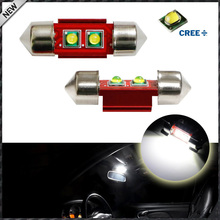 "2pcs Super Bright Xenon White 6W High Power CRE'E XP-E 1.25"" 31mm Festoon LED Bulbs DE3175 DE3021 car Interior Dome Map Light"