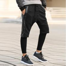 Spring patchwork leather male tide jogging pants shorts faux two piece set Men sports pants harem pants casual men trousers !