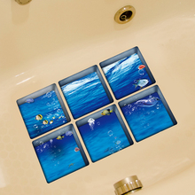 6pcs/set Modern 3D Bathroom Sticker Waterproof Bathtub Stickers Self Adhesive Wall Decor DIY Anti Slip Bathtub Decals 13x13cm