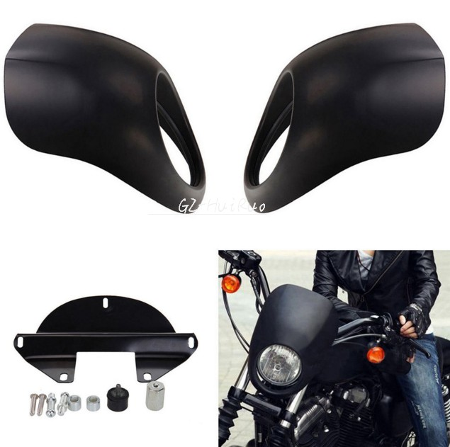 Matte Black Fork Mount Head Light Fairing Mask Front Visor For Harley Sportster Cafe Racer<br>