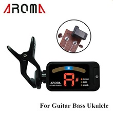 Aroma AT-100 Portable Black Clip-on Electric Tuner Universal for Chromatic Guitar Bass Ukulele Top Quality