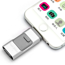 Gold silver OTG USB Flash Drive for iphone 6/5 ipad lightning Pen drive 8g 16gb 32gb 64gb Flash Driver Micro usb(China)