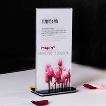 10Pieces Double Side Acrylic Table Display Stand Sign Billboard Holder Menu Price Tag Display Holder AL1020C