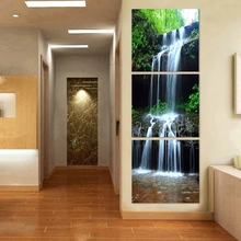 3 panel Waterfall painting Printed Painting on canvas Swan Painting wall art Home Decorative Art Vertical Picture W-127(China)