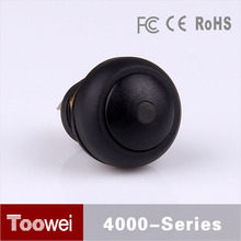 10pcs/lot Black Dome Head pushbutton switch 12mm waterproof IP67 illuminated push button switch reset with LED light