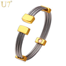 U7 Cuff Bracelets & Bangles Kpop Natural Germanium Magnetic Stone 316L Stainless Steel High Quality Fitness Jewelry For Men H616(China)
