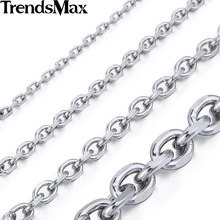 Trendsmax 2.5/3/4/6/8/10mm Mens Chain Silver Color Stainless Steel Oval Necklace Top quality Fashion Jewelry KNM31(Hong Kong)