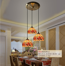 Free Shipping Tiffany Pendant Light 3L Design Vintage Novelty Creative Tiffany Pendant Light Hanging Lamp  Pendant Lighting