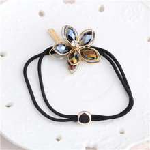 New Korean Women Hair Accessories Rhinestone Flower Hair Rope Imitation Pearl Shell Floral Elastic Headband Rubber Hair Bands(China)
