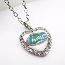 10pcs/lot Crystal Heart Florida Gators Necklace Football Jewelry With 50cm Chains NCAA Sports Necklace Jewelry Charms(China)