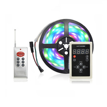 DC12V 5m RGB LED strip Light smart 1903 IC 5050 SMD RGB LED pixels tape addressable Digital IP67 Waterproof + RF Remote Control(China)