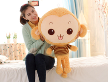 lovely stuffed monkey animal plush toys monkey toy doll with stripe cloth birthday gift light brown about 68cm(China)