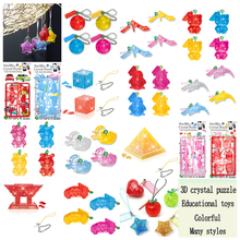 SST* 1 pc /Jigsaw Mobile Phone Key Chain Mini Puzzle Transparent 3D Crystal Puzzle Gift Toys Educational Chidlren DIY toy color(China)