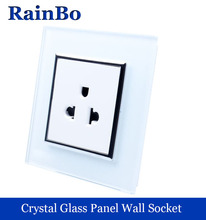 rainbo United States Standard Power Socket Crystal Glass Panel AC 110~250V 16A Wall Power Socket   FreeShipping A18AW/B