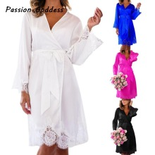 Sexy Lace Kimono Nighty Party Mini Loose Dress Full Sleeve Gown Lace Robes Dress Pareo Bathrobe Dresses Cardigans Belt XXL(China)