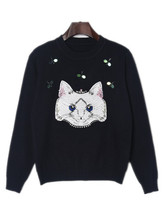 2017 Fashion Cat Sweater Runway Designer Woman Sweater Winter Sequins Black White Cat Pattern Sweater Women Pullover Knit Jumper(China)