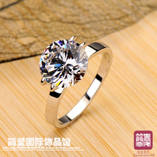 High quality excellent cut 4 Ct  NSCD synthetic stone wedding rings sterling sliver jewelry  engagement rings