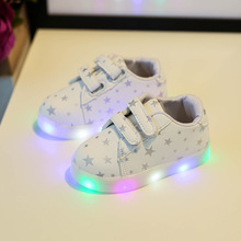 Eur21-30 child shoes boys girls sport star shoes light led slip-resistant children baby sneakers kids beach leather boots