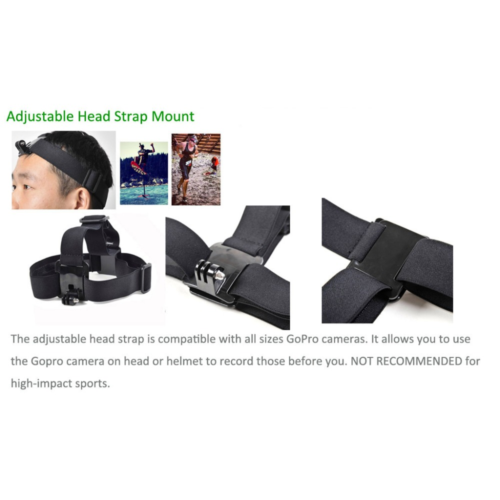 for Gopro Accessories Elastic Adjustable Headband Headstrap Mount For Gopro Hero 4/1/2/3/3+ For xiaomi yi sjcam 4000 5000 Camera