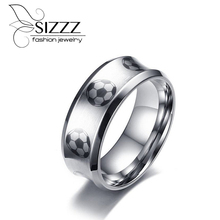 SIZZZ High Polished 8mm Wide Stainless Steel Ring With Football Pattern For Men/Boy(China)