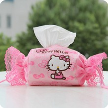 japan style cute tissue box Plush fabric can be used in room hello kitty tissue canister