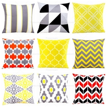 Nordic Decorative Throw Pillows Case Geometric Cushion Cover Home Decor Gray Red Stipe Pillow Yellow Decorative Pillowcase(China)