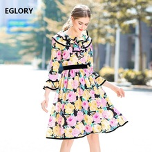 New 2018 Spring Summer Women Beautiful Dress Floral Print Ruffles Flare Sleeve A-Line Casual Princes Lady Sweetheart Day Dress(China)