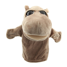Cute Plush Velour Animals Hand Puppets Chic Designs Kid Child Learning Aid Toy (Hippo) Gray