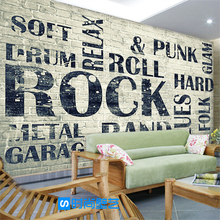 Free Shipping 3D character English letter wallpaper Cafe Bar TV sofa Lounge school backdrop brick wallpaper mural