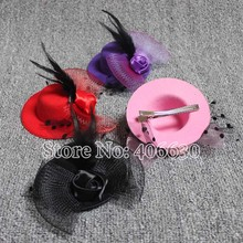 New 4inch Mini Top Hats Hairclip Fascinators Party Small Gift Hats 6 Colors 12pcs/lot Free Shipping MFF10-016