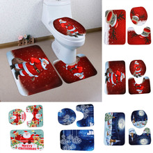 3pcs/set Printed Cartoon Christmas Toilet Seat Cover Christmas Decorations Happy Snowman Santa Bathroom Toilet Seat Cover Rug(China)