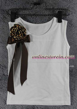 Children girls t shirt Brown ribbon Baby girls pettitop leopard  rosettle kids girls cotton t shirt summer